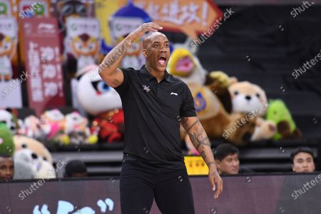 Stephon Marbury, head coach of Beijing Royal Fighters, reacts during a match between Shandong Heroes and Beijing Royal Fighters at the newly resumed 2019-2020 Chinese Basketball Association (CBA) league in Dongguan, south China's Guangdong Province, on June 23, 2020.
