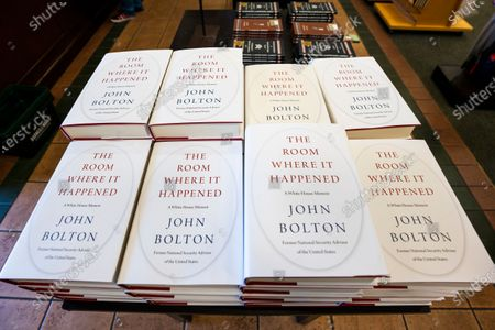 Former National Security Advisor John Bolton's new book about the Trump White House 'The Room Where It Happened: A White House Memoir' on sale the first day of its release at a Barnes & Noble bookstore in Alexandria, Virginia, USA, 23 June 2020. In the book, which has generated much consternation at the White House, Bolton claims, among other things, that US President Donald J. Trump asked China for help to win the 2020 elections, and that he didn't know the United Kingdom is a nuclear power. A fedral court on 20 June turned down a request from the Trump administration to stop the book from being published.