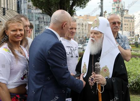 Honorary Patriarch Filaret (R) and Merited Doctor of Ukraine Oleh Shekera attend the ceremony to lay the symbolic first brick of the monument honouring healthcare workers, Kyiv, capital of Ukraine.