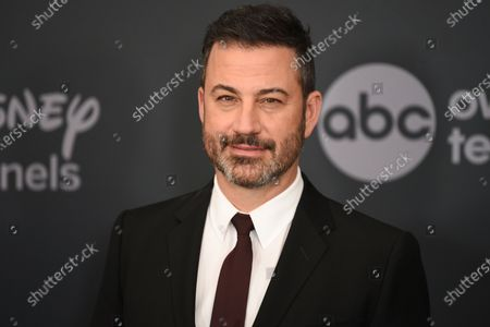 """Stock Photo of Jimmy Kimmel at the Walt Disney Television 2019 upfront in New York. Kimmel apologized Tuesday for his 1990s blackface impressions of NBA player Karl Malone and other Black celebrities but, in a lengthy statement, said he was frustrated that his """"thoughtless moments"""" are being used to diminish his criticism of injustices"""