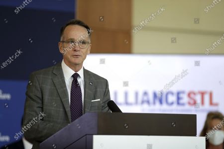 AllianceSTL chief executive Steve Johnson speaks during a news conference, in Town and Country, Mo. Accenture Federal Services, a subsidiary of global consulting firm Accenture, announced during the news conference it plans to open an advanced technology center in the area later this year bringing with it up to 1,400 jobs providing federal government agencies with support in a variety of digital areas