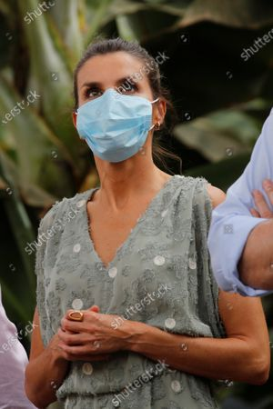 Queen Letizia of Spain, wearing a face mask and accompanied by entrepreneurs from the tourism and agricultural sectors, visits Granadilla de Abona, in Tenerife, Canary Islands, Spain, 23 June 2020. The Spanish Royal couple started their tour on the Canary Islands before visiting the rest of the country after the Covid-19 coronavirus lockdown was lifted.