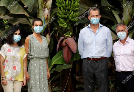 Stock Photo of King Felipe VI (C-R) and Queen Letizia (C-L) of Spain, wearing face masks and accompanied by entrepreneurs from the tourism and agricultural sectors, visits Granadilla de Abona, in Tenerife, Canary Islands, Spain, 23 June 2020. The Spanish Royal couple started their tour on the Canary Islands before visiting the rest of the country after the Covid-19 coronavirus lockdown was lifted.