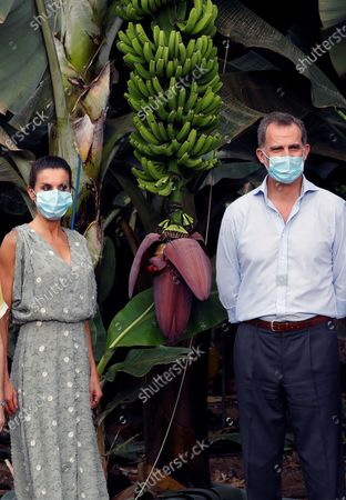 Stock Picture of King Felipe VI (R) and Queen Letizia (L) of Spain, wearing face masks and accompanied by entrepreneurs from the tourism and agricultural sectors, visits Granadilla de Abona, in Tenerife, Canary Islands, Spain, 23 June 2020. The Spanish Royal couple started their tour on the Canary Islands before visiting the rest of the country after the Covid-19 coronavirus lockdown was lifted.
