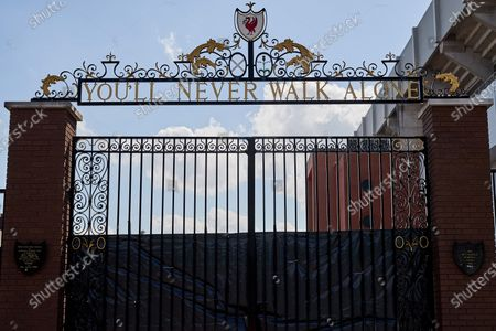 A general view as black plastic is attached to the Bill Shankly gates by the car park next to the Sir Kenny Dalglish stand at Anfield prior to the return of the Premier League at Anfield when Liverpool host Crystal Palace