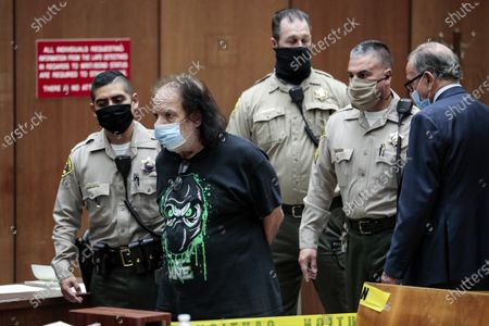 Adult film actor Ron Jeremy (2-L) is charged with sexually assaulting four women during his arraignment at Clara Shortridge Foltz Criminal Justice Center in Los Angeles, California, USA, 23 June 2020. He is facing charges of raping three women and sexually assaulting another in separate incidents dating back to 2014.