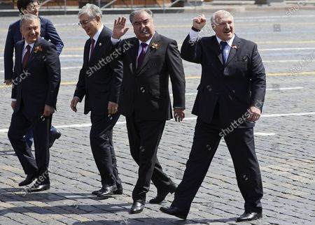 (L-R) Uzbek President Shavkat Mirziyoyev, Kazakhstan's President Kassym-Jomart Tokayev, Tajik President Emomali Rahmon, and Belarusian President Alexander Lukashenko walk after the military parade in the Red Square in Moscow, Russia, 24 June 2020. The military parade marking the 75th anniversary of the victory over Nazi Germany in the World War II takes place in the Red Square on 24 June 2020, as the traditional troops parade as part of the Victory Day Parade which is annually held on 09 May, was cancelled due to the ongoing coronavirus COVID-19 pandemic.