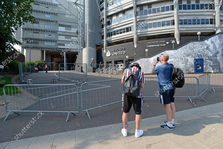 General view of St. James' Park ahead of kick off against Aston Villa with barricades to in accordance with Coronavirus protocols