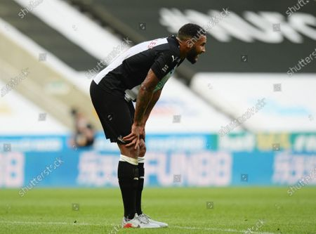Jamaal Lascelles of Newcastle United is dejected after the full time whistle