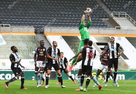 Stock Photo of Martin Dubravka goalkeeper for Newcastle United easily claims a the ball from an Aston Villa cross