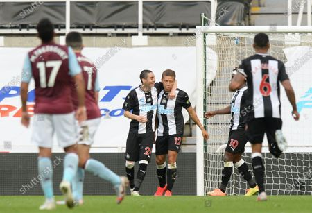 Dwight Gayle of Newcastle United celebrates scoring their first goal
