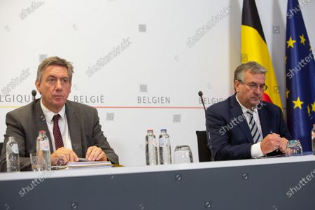 Flemish Minister President Jan Jambon and Federation Wallonia - Brussels Minister President Pierre-Yves Jeholet pictured during a meeting of the National Security Council, consisting of politicians and intelligence services, to discuss the deconfinement in the Covid-19 (Coronavirus) crisis, Wednesday 24 June 2020 in Brussels.