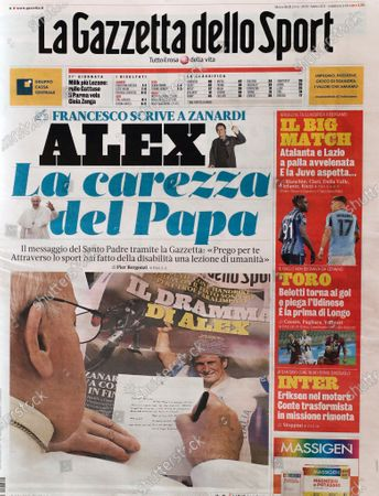 Stock Photo of The front page of Italian sports daily Gazzetta dello Sport showing Pope Francis writing a letter of encouragement to Alex Zanardi, . Pope Francis is praising Alex Zanardi as an example of strength amid adversity as the Italian auto racing champion-turned-Paralympic gold medalist recovers from a handbike crash. Francis penned a letter of encouragement assuring Zanardi and his family of his prayers that was published on the front page of sports daily Gazzetta dello Sport on Wednesday