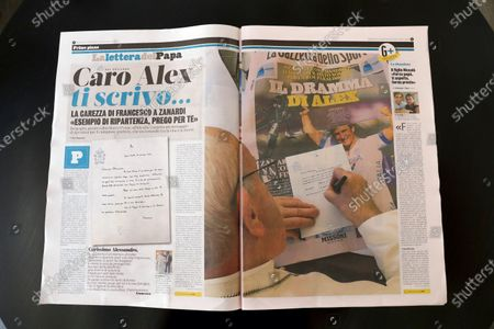 The page of Italian sports daily Gazzetta dello Sport showing Pope Francis writing a letter of encouragement to Alex Zanardi, . Pope Francis is praising Alex Zanardi as an example of strength amid adversity as the Italian auto racing champion-turned-Paralympic gold medalist recovers from a handbike crash. Francis penned a letter of encouragement assuring Zanardi and his family of his prayers that was published on the front page of sports daily Gazzetta dello Sport on Wednesday
