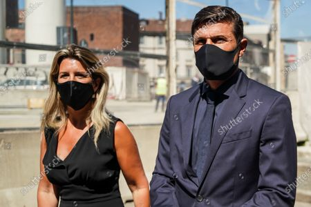 Former football player Javier Zanetti and wife during the funeral