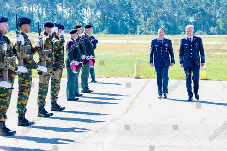 Stock Picture of King Philippe of Belgium visits the airbase of Kleine-Brogel. He was briefed on the current state of defense and on the fight against the corona virus in an operational unit. At the same time, he met various experts such as pilots of F16s, the Force Protection.