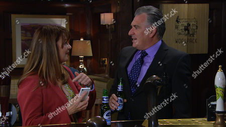 Emmerdale - Ep 8804 Monday 6th July 2020 Bob Hope, as played by Tony Audenshaw and Wendy, as played by Susan Cookson are on a date but Bob worries Rodney and Wendy might be exchanging messages as she's constantly distracted by her phone.