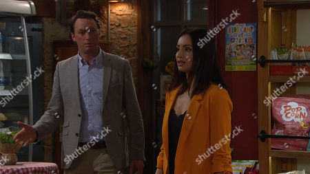 Emmerdale - Ep 8805 Wednesday 8th July 2020 Liam Cavanagh, as played by Johnny McPherson and Leyla Harding, as played by Rokhsaneh Ghawam-Shahidi