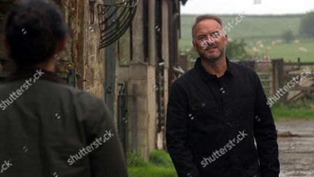 Emmerdale - Ep 8804 Monday 6th July 2020 Malone, as played by Mark Womack breaks-in and threatens Moira Dingle. to keep quiet about his affair with Harriet. As Malone leaves, an angry Cain Dingle discreetly watches from afar and is left convinced that Malone and Moira are having an affair.