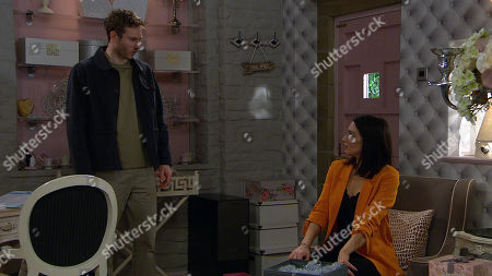 Emmerdale - Ep 8805 Wednesday 8th July 2020 Jamie Tate, as played by Alexander Lincoln is left furious that Leyla Harding, as played by Rokhsaneh Ghawam-Shahidi was helping Andrea hide out. He's further confused when Leyla explains she has no idea where Andrea is. He's left wondering if Andrea has done something stupid.