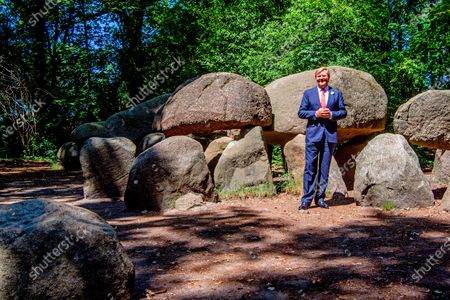 King Willem-Alexander of The Netherlands visits the Dolmen Tombs and the cultural stage in Borger, 24 June 2020. The King visits Borger in the province of Drenthe to support the cultural and tourism sector after the Corona Crisis.