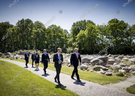 Dutch King Willem-Alexander (R) visits the Hunebedmuseum in Borger, Netherlands, 24 June 2020. The visit to Borger is in the context of the impact of the coronavirus crisis on the culture and leisure sector in the province of Drenthe.