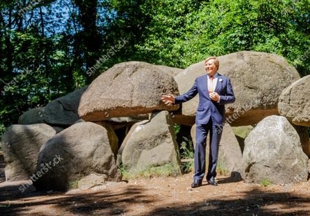 Stock Picture of King Willem-Alexander during a working visit to Borger in the context of the impact of the corona crisis COVID-19 on the culture and leisure sector in the province of Drenthe. The Netherlands