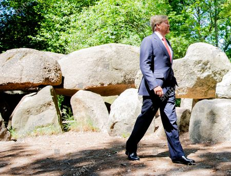 Stock Photo of King Willem-Alexander during a working visit to Borger in the context of the impact of the corona crisis COVID-19 on the culture and leisure sector in the province of Drenthe. The Netherlands