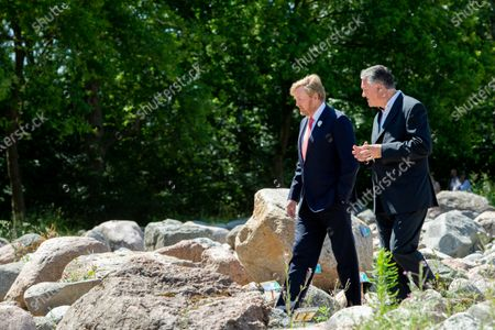 King Willem-Alexander during a working visit to Borger in the context of the impact of the corona crisis COVID-19 on the culture and leisure sector in the province of Drenthe. The Netherlands