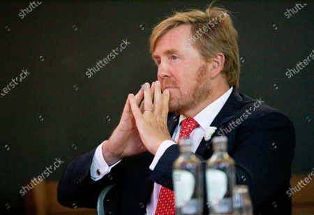 Stock Image of King Willem-Alexander during a working visit to Borger in the context of the impact of the corona crisis COVID-19 on the culture and leisure sector in the province of Drenthe. The Netherlands