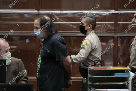 Adult film star Ron Jeremy is leaves Dept. 30 at LA Superior Court after appearing on four counts of sexual assault.