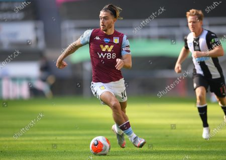 Jack Grealish (C) of Aston Villa in action during the English Premier League match between Newcastle United and Aston Villa in Newcastle, Britain, 24 June 2020.