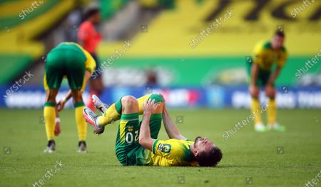 Josip Drmic of Norwich reacts after the English Premier League soccer match between Norwich City and Everton FC in Norwich, Britain, 24 June 2020.