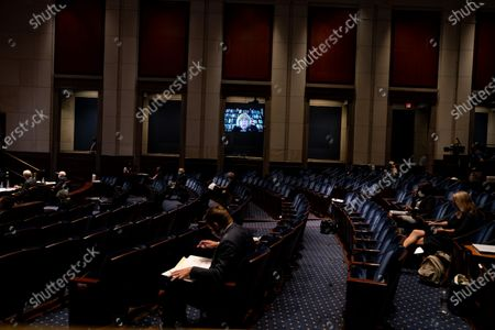 Stock Image of Rep. Zoe Lofgren (D-CA) is seen participating remotely in a House Judiciary committee hearing on 'Oversight of the Department of Justice: Political Interference and Threats to Prosecutorial Independence', on Capitol Hill in Washington, DC, USA, 24 June 2020.