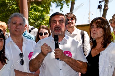 Jean-Marc Coppola delivers a speech during the campaign.Accompanied by Jean-Marc Coppola from the French Communist Party, Michele Rubirola meets Marseille voters as part of her electoral campaign for the mayor of Marseille.