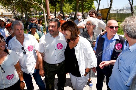 Jean-Marc Coppola and Michele Rubirola are seen during the campaign.Accompanied by Jean-Marc Coppola from the French Communist Party, Michele Rubirola meets Marseille voters as part of her electoral campaign for the mayor of Marseille.