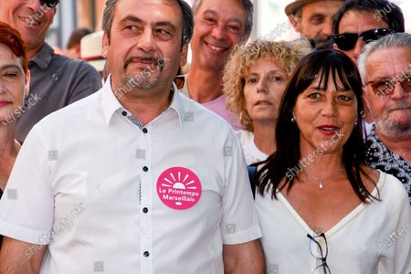 Jean-Marc Coppola and Lydia Frentzel are seen during the campaign.Accompanied by Jean-Marc Coppola from the French Communist Party, Michele Rubirola meets Marseille voters as part of her electoral campaign for the mayor of Marseille.