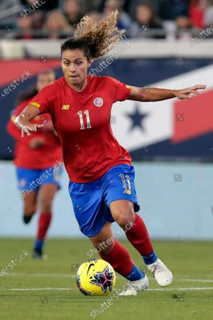 Costa Rica midfielder Raquel Rodriguez (11) moves the ball during the second half of an international friendly soccer match against the United States, in Jacksonville, Fla. Raquel Rodriguez, better known as Rocky to her fans, was in route to join her new National Women's Soccer League team when sports were shut down by the coronavirus. It certainly wasn't an ideal start for the Costa Rican striker with the Portland Thorns