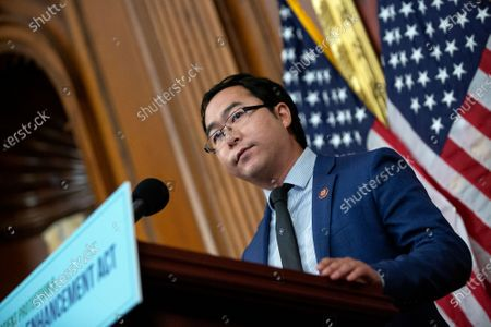 United States Representative Andy Kim (Democrat of New Jersey) speaks during a news conference on the Affordable Care Enhancement Act at the United States Capitol in Washington D.C., U.S.,.