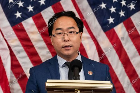 U.S. Representative Andy Kim (D-NJ) speaks at a press conference where House Democrats unveiled the Patient Protection and Affordable Care Enhancement Act.