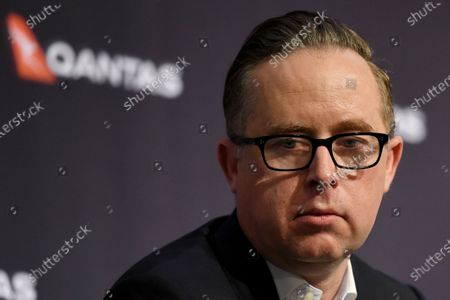 Qantas Chief Executive Officer (CEO) Alan Joyce looks on during a press conference in Sydney, Australia, 25 June 2020. Qantas announced on 25 June that it will sack at least 6,000 employees amid the ongoing coronavirus pandemic crisis.