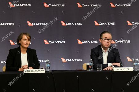Qantas Chief Financial Officer (CFO) Vanessa Hudson (L) and Chief Executive Officer (CEO) Alan Joyce (R) attend a press conference in Sydney, Australia, 25 June 2020. Qantas announced on 25 June that it will sack at least 6,000 employees amid the ongoing coronavirus pandemic crisis.