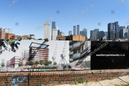 Stock Photo of The Westferry Printworks development on the Isle of Dogs, East London.  The Housing minister Robert Jenrick has been accused of bias when he gave the green light to the proposal.