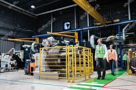 Stock Picture of King Willem-Alexander makes a visit to the companies Nedschroef in Helmond and DAF Trucks in Eindhoven, in the context of the impact of the corona pandemic on the manufacturing industry, in particular the automotive industry.