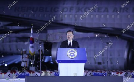 President Moon Jae-in delivers a commemorative speech at a ceremony to mark the 70th anniversary of the outbreak of the 1950-53 Korean War, at Seoul Air Base in Seongnam, south of Seoul, South Korea, 25 June 2020. The 1950 operation, commanded by US Gen. Douglas MacArthur, turned the tide of the war against the invading North Korea.