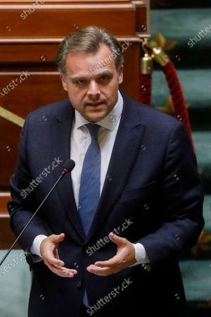 Minister of Social Fraud, Privacy, the North Sea, Telecommunication and Administrative Simplification Philippe De Backer pictured during a plenary session of the Chamber at the Federal Parliament in Brussels, Thursday 25 June 2020.