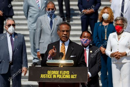 Rep. Emanuel Cleaver, D-Mo., speaks during a news conference on the House East Front Steps on Capitol Hill in Washington, ahead of the House vote on the George Floyd Justice in Policing Act of 2020