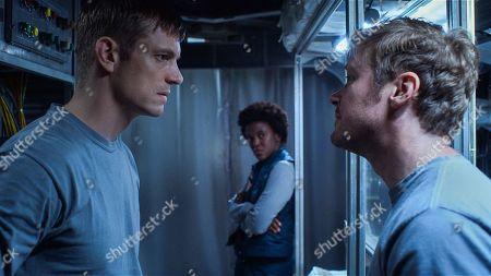 Stock Image of Joel Kinnaman as Edward Baldwin, Krys Marshall as Danielle Poole and Michael Dorman as Gordo Stevens