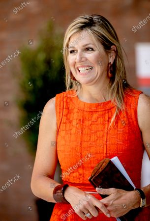 Queen Maxima, as a member of the Dutch Committee for Entrepreneurship makes a visit to technology facility TechnoHUB in Woerden, The Netherlands, in the context of the importance of well-trained technical personnel and the impact of the corona pandemic COVID-19.