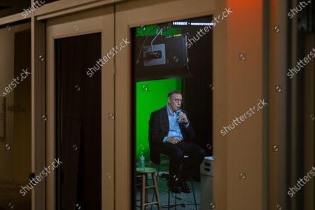 """Stock Image of Los Angeles Times Executive Editor Norman Pearlstine holds a virtual company town hall, titled, """"Newsroom Update: discussion about racism, diversity and inclusiveness,"""" and is seen broadcasting from the video studio, of the company's El Segundo, CA, headquarters, Wednesday, June 24, 2020. (Jay L. Clendenin / Los Angeles Times)"""